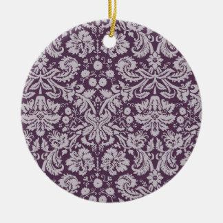 Damasco de la púrpura de la berenjena ornamento de navidad