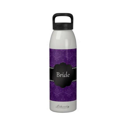 Damasco de la púrpura de los regalos de la novia botellas de agua reutilizables