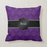Damasco de la púrpura de los regalos de la novia almohada