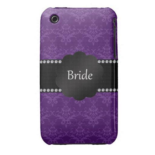 Damasco de la púrpura de los regalos de la novia iPhone 3 Case-Mate protector