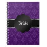 Damasco de la púrpura de los regalos de la novia libro de apuntes con espiral