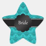 Damasco de la turquesa de los regalos de la novia pegatinas forma de estrella personalizadas