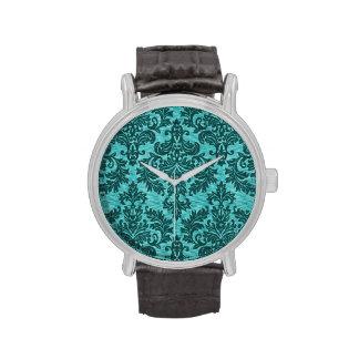 Damasco de la turquesa relojes de pulsera