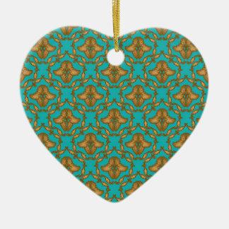 Damasco de la turquesa y del oro adorno de cerámica en forma de corazón