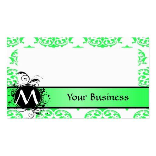 Damasco de la verde lima y del blanco con el monog tarjeta de visita