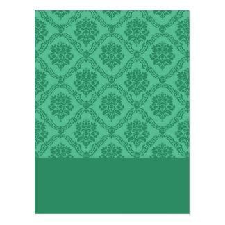Damasco de la verde menta postal
