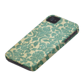 Damasco de la verde salvia del vintage iPhone 4 protector