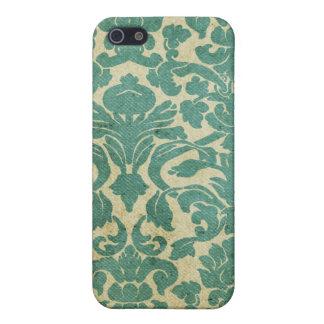 Damasco de la verde salvia del vintage iPhone 5 protector