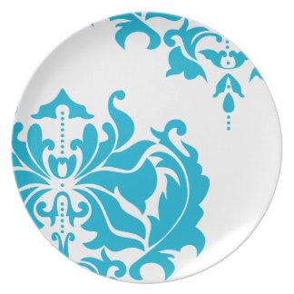 Damasco de las azules turquesas y del blanco del plato para fiesta