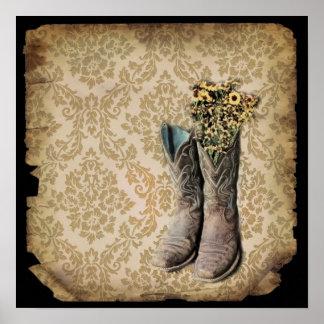 damasco de las botas de vaquero del país occidenta impresiones