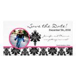 damasco de las rosas fuertes del negro de la invit tarjeta fotografica personalizada