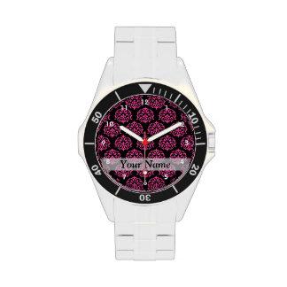 Damasco de las rosas fuertes y del negro relojes de mano