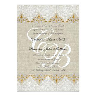 Damasco de lino del monograma del boda del oro del invitación 12,7 x 17,8 cm