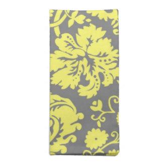 Damasco de lujo amarillo y gris modelado servilletas