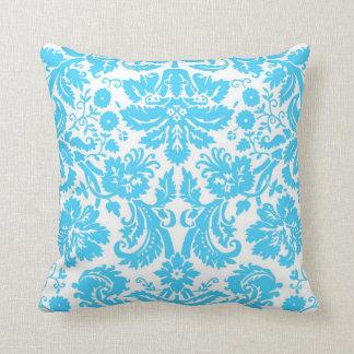 Damasco de lujo azul y blanco modelado cojin