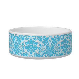Damasco de lujo azul y blanco modelado tazón para gato
