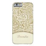Damasco de lujo de Paisley del oro y de la marfil Funda De iPhone 6 Barely There