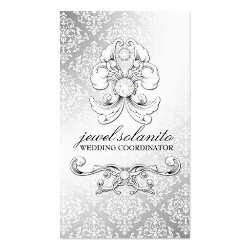 damasco de lujo del diamante 311-Silver Tarjetas De Visita
