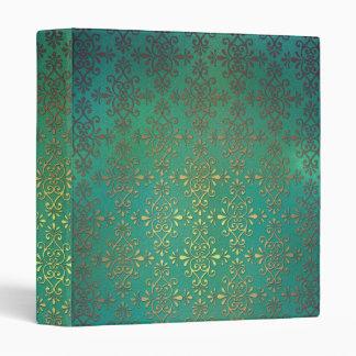 Damasco de lujo del verde y del oro