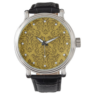 Damasco de lujo (marrón amarillo de la mostaza) reloj