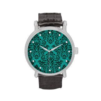 Damasco de lujo turquesa del trullo reloj de mano