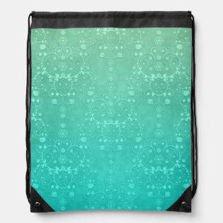 Damasco de lujo verde de menta de la turquesa del mochila