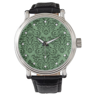 Damasco de lujo (verde menta) relojes de pulsera