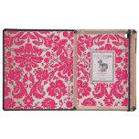 Damasco de neón del rosa y del oro iPad fundas