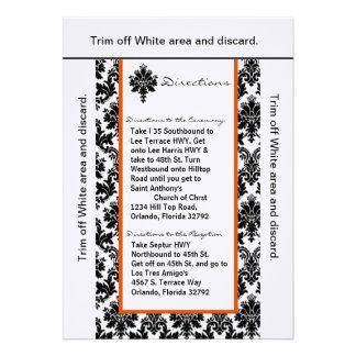 damasco de Orán del negro de la tarjeta de las dir Invitacion Personalizada