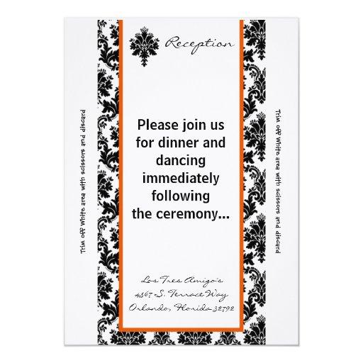 """damasco de Orang del negro de la tarjeta de la Invitación 5"""" X 7"""""""