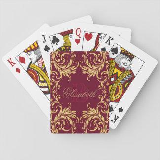Damasco de oro del monograma en rojo oscuro cartas de juego