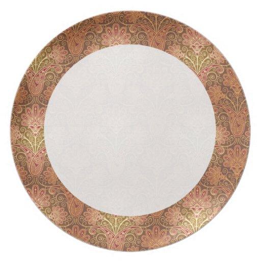 damasco de oro plato de cena