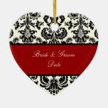 Damasco de PixDezines Isabel, fondo de Black/DIY Adornos De Navidad