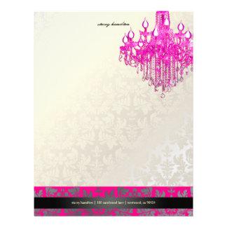 Damasco de PixDezines/lámpara barrocos de las rosa Membrete