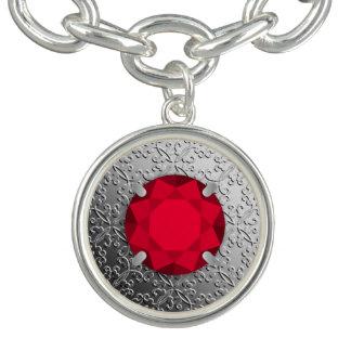 Damasco de plata con una falsa piedra preciosa del pulseras