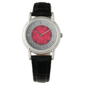 Damasco de plata con una gema/un jewell del relojes de pulsera