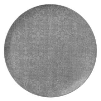Damasco de plata de la flor de lis plato para fiesta