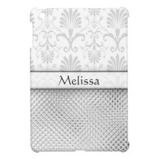 Damasco de plata del efecto de Bling personalizado iPad Mini Protector