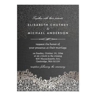Damasco de plata elegante - boda formal clásico invitación 12,7 x 17,8 cm