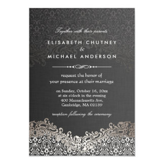 "Damasco de plata elegante - boda formal clásico invitación 5"" x 7"""
