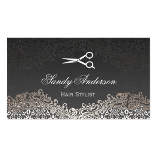 Damasco de plata elegante del vintage - estilista tarjeta de negocio