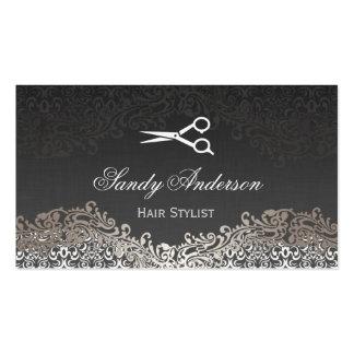Damasco de plata elegante del vintage - estilista tarjetas de visita