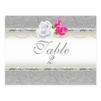 Damasco de plata elegante y número color de rosa r postales
