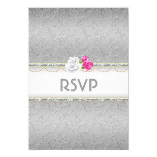 Damasco de plata elegante y RSVP color de rosa ros Comunicados
