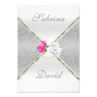Damasco de plata elegante y tarjeta color de rosa comunicado personalizado