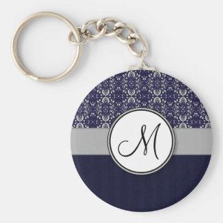 Damasco de plata en azul con las rayas y el monogr llaveros personalizados