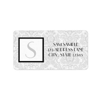Damasco de plata etiquetas de dirección