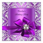 Damasco de plata púrpura de la perla de la fiesta comunicados personalizados