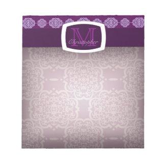 Damasco de Quatrefoil (púrpura) Blocs De Papel