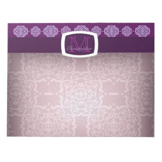 Damasco de Quatrefoil (púrpura) Libretas Para Notas
